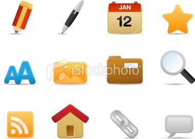 Stock Vector: Blog Theme Icons (Matte Series)