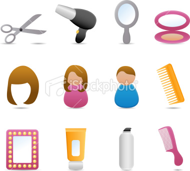 Stock Vector: Hairdessing Icons (Matte Series)