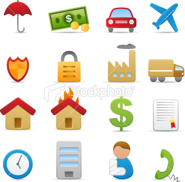 stock vector: insurance icons (matte series)
