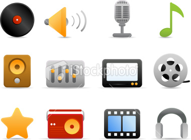 Stock Vector: Multimedia Icons (Matte Series)