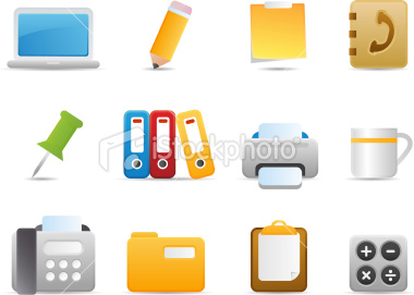 Stock Vector: Office Icons 2 (Matte Series)