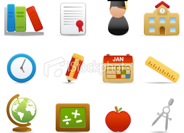 Stock Vector: School Icons (Matte Series)