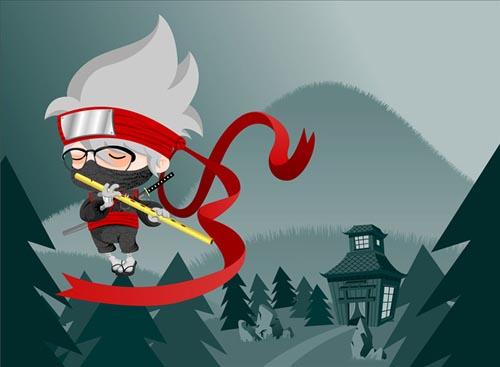 cute character geek ninja