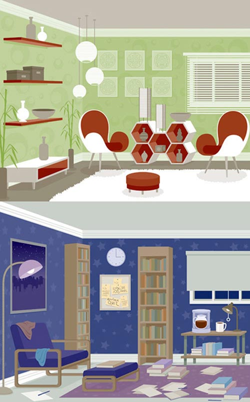30 inspiring interior illustrations illustrator for Room design vector