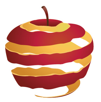 3D peeled apple skin tutorial