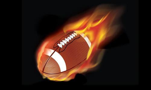 football with flames