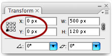 Transform Panel with X and Y settings 0