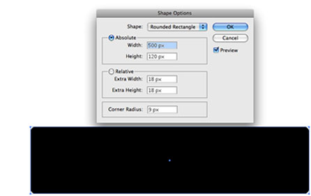 Screenshot of making rectangle rounded