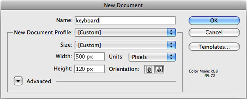 Screenshot of New Document Window