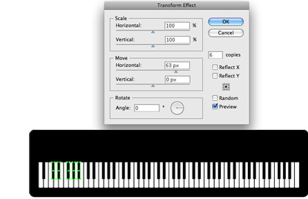 Screenshot of transform effect for black keys