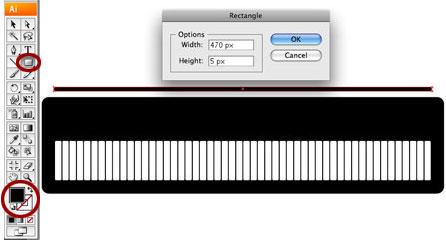 Screenshot of add black strip to top of keys