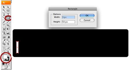 Screenshot of white key rectangle