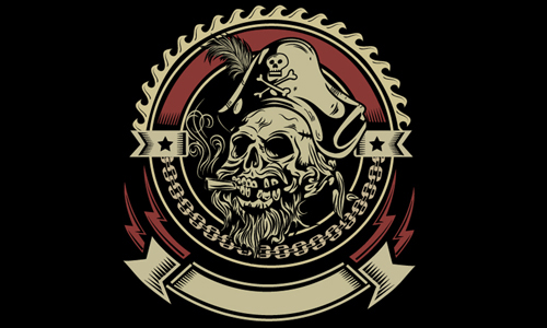 Illustrator Tutorial Vintage Pirate Skull Emblem