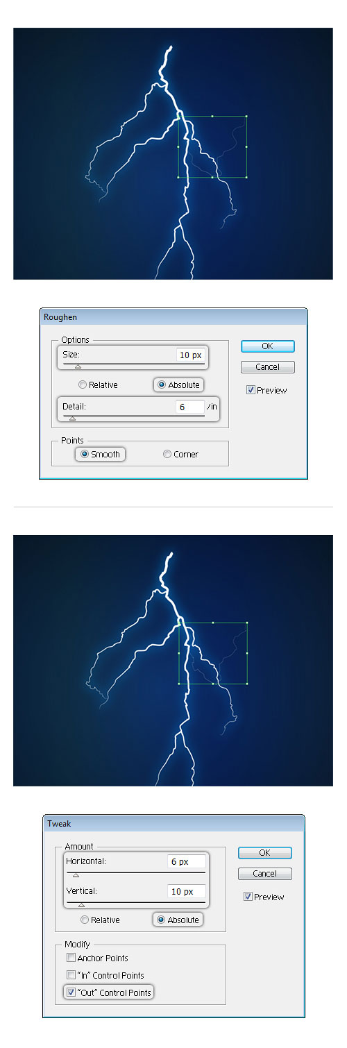 Lightning bolt effect