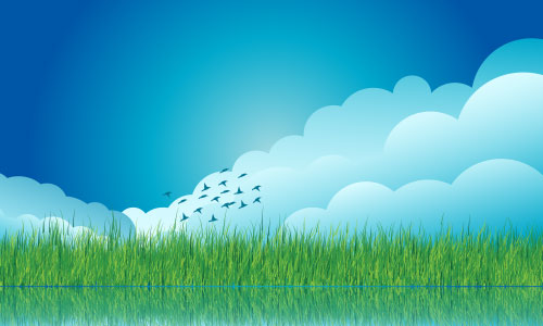 Vector Cloud Grass Background