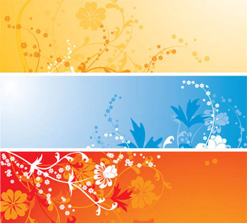 Floral Colorful Banners Vector