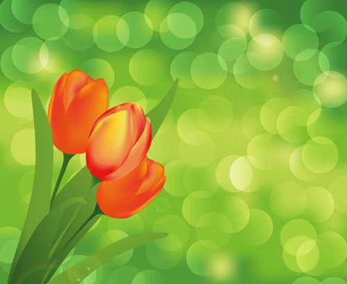 Flower Green Background Vector Art
