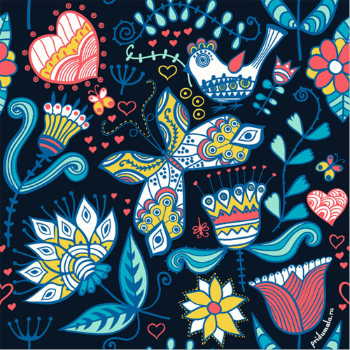 floral fantasy seamless pattern