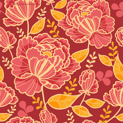 kimono florals vector seamless patterns