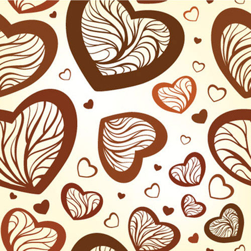 seamless pattern with stylized hearts