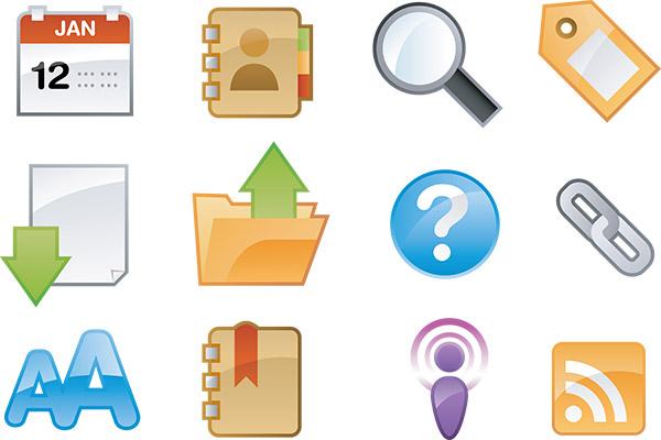 glossy internet icons