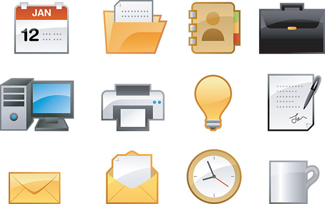 glossy office icons