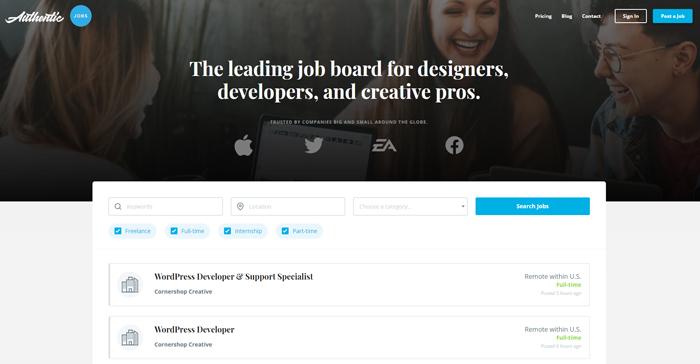 places find remote graphic design jobs authenticjobs
