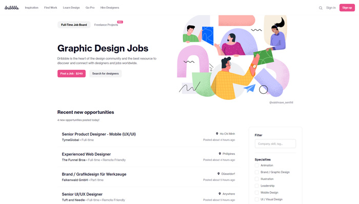 places find remote graphic design jobs dribble jobs
