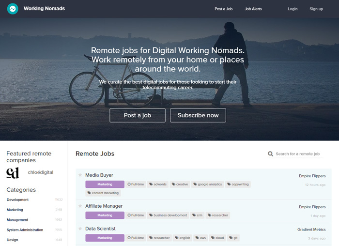 places find remote graphic design jobs workingnomads