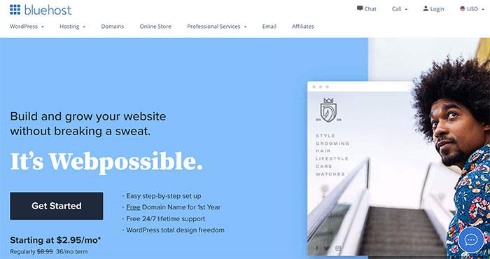 bluehost web hosting get started