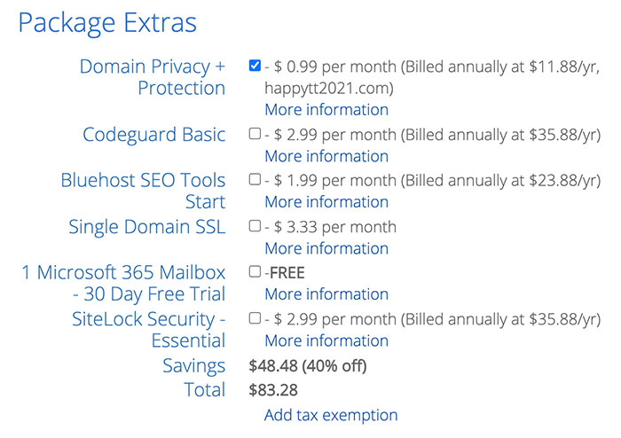 bluehost web hosting package options