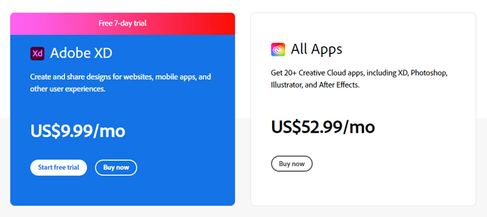 what is adobe xd pricing